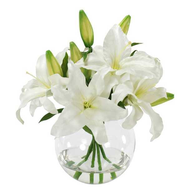 Casablanca Lily Floral Arrangement in Glass Vase - Perigold
