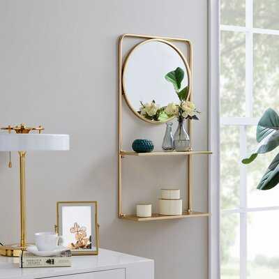 Everly Quinn & Co.® Gold Pharmacy Mirror With Shelves - Wayfair