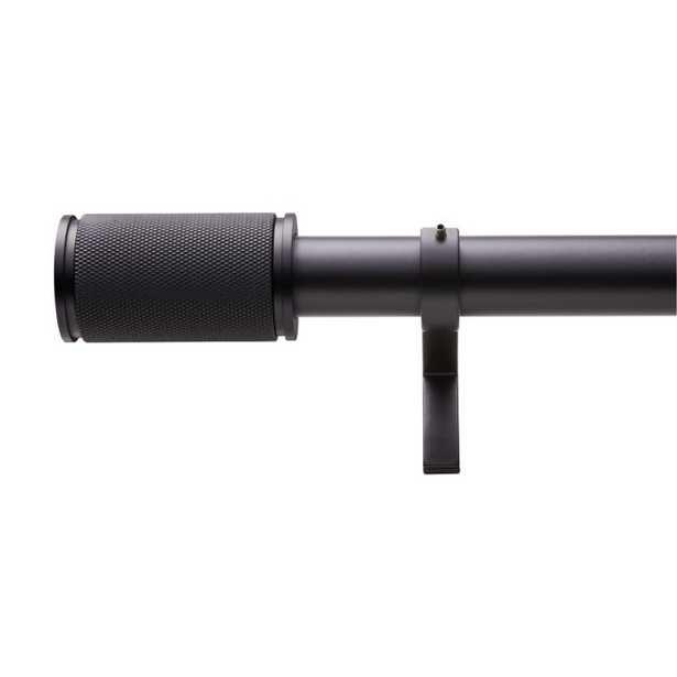 "Matte Black Amp Finial Curtain Rod Set 48""-88""x1.25""Dia. - CB2"
