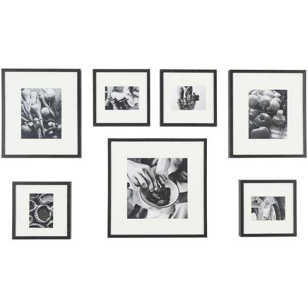 StyleWell White Matte Gallery Wall Picture Frames, Black Frame, Set of 7 - Home Depot