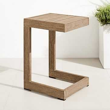 Portside Outdoor C-Shaped Side Table, Driftwood - West Elm