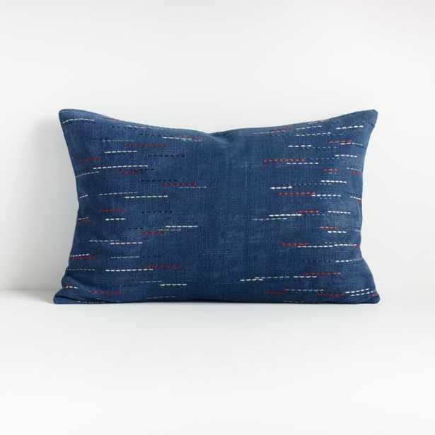 """Hira Blue Lumbar Pillow 22""""x15"""" - Crate and Barrel"""