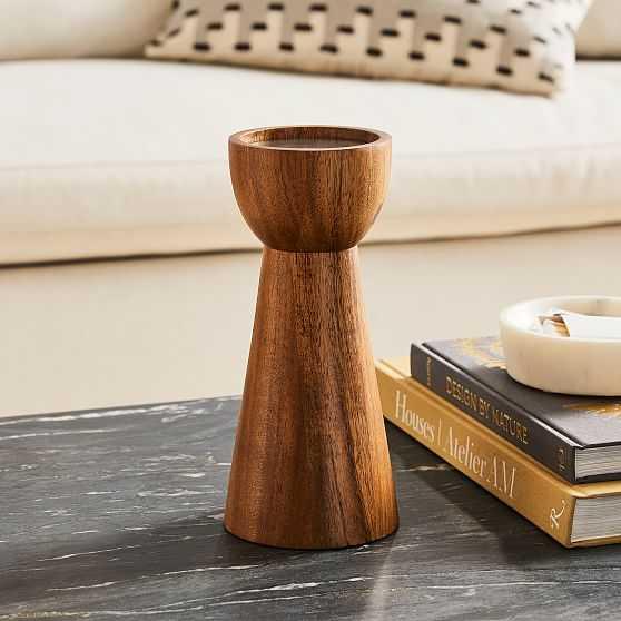 Pure Wood Pillar Candle Holder, Dark Walnut, Large - West Elm