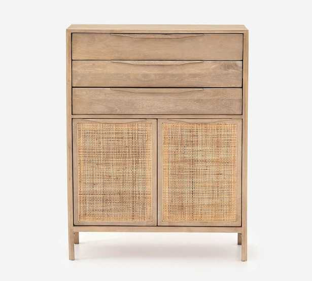 Dolores Cane 3-Drawer Tall Dresser, Natural - Pottery Barn