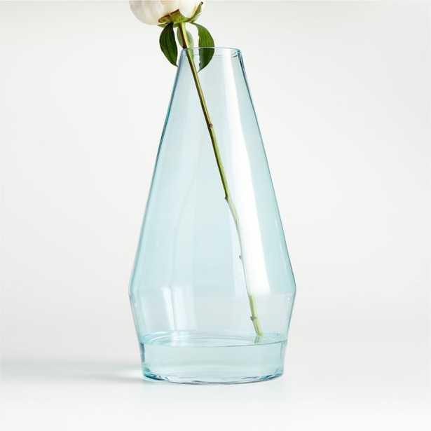 Laurel Large Angled Blue Glass Vase - Crate and Barrel