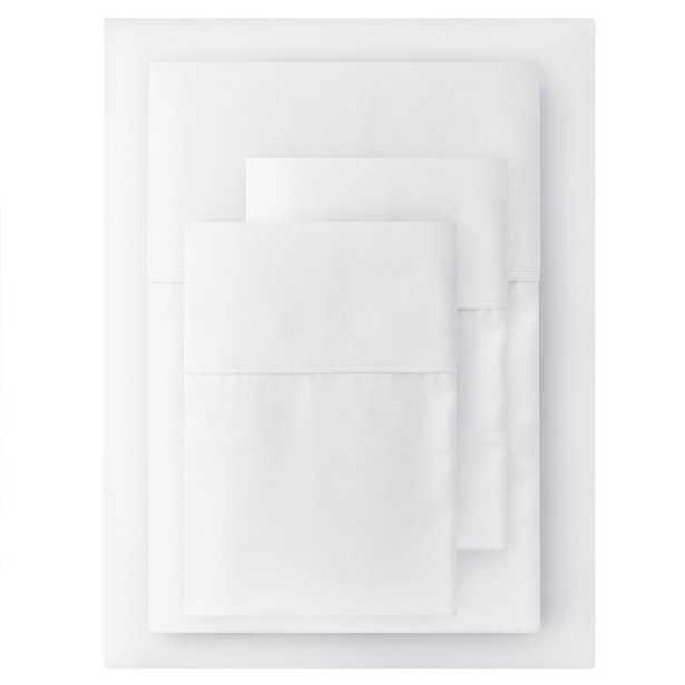 400 Thread Count Cotton Sateen Performance 4-Piece Full Sheet Set in White - Home Depot