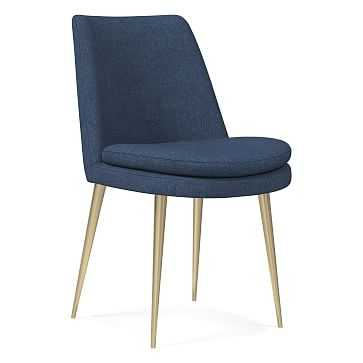 Finley Low Back Dining Chair, Performance Yarn Dyed Linen Weave, French Blue, Light Bronze - West Elm