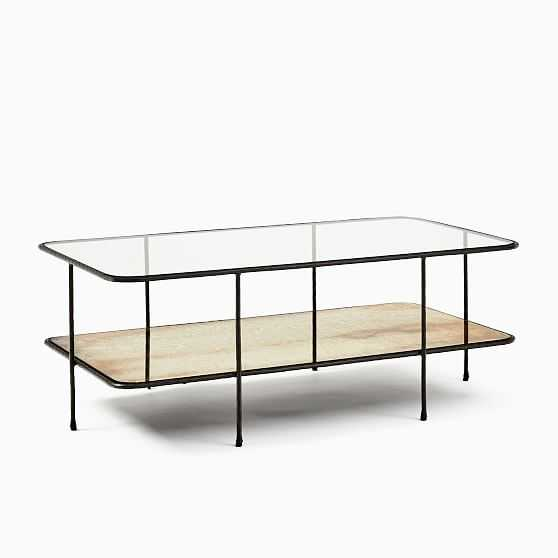 Marley Collection Glass and Antique Bronze Rectangle Coffee Table - West Elm