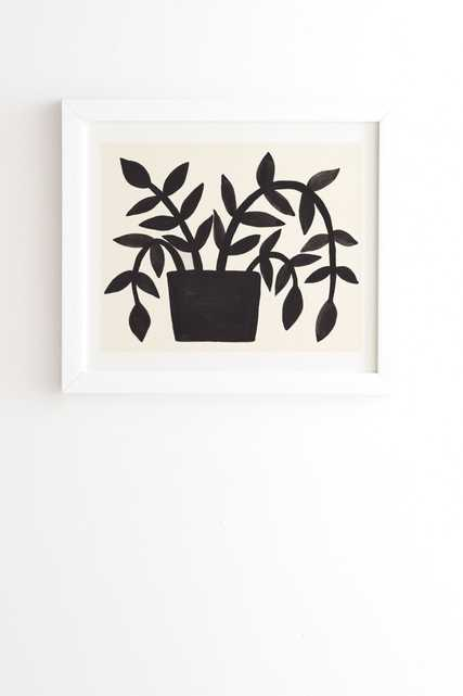 """Black Painted Plant by Pauline Stanley - Framed Wall Art Basic White 30"""" x 30"""" - Wander Print Co."""