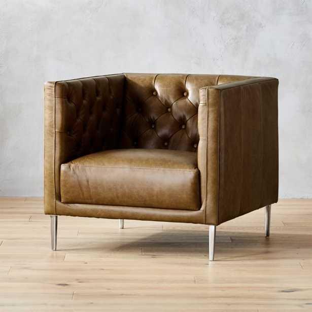 Savile Saddle Leather Tufted Chair - CB2