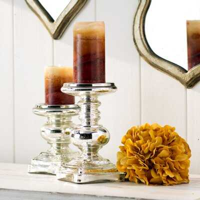 2 Piece Small Glass Tabletop Candlestick Set - Birch Lane
