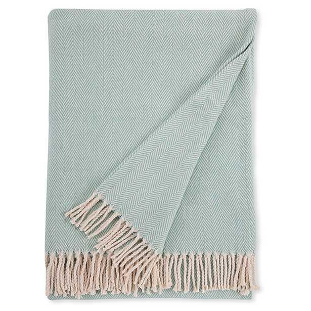 Sferra Celine Cotton Throw - Aqua - Kathy Kuo Home