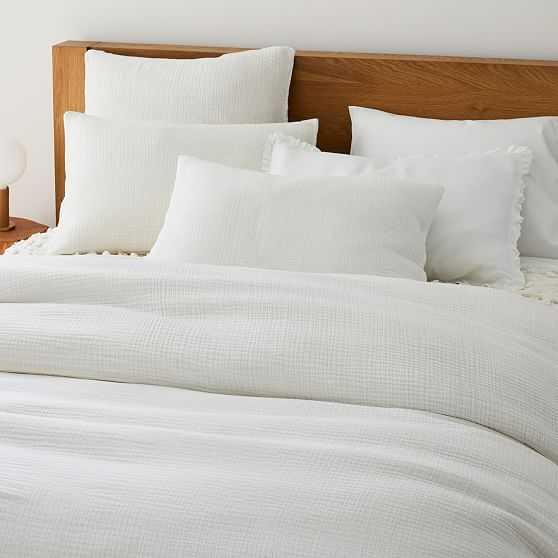 Dreamy Gauze Cotton Duvet, King, White - West Elm