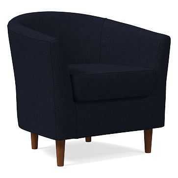 Mila Chair, Poly, Twill, Black Indigo, Auburn - West Elm