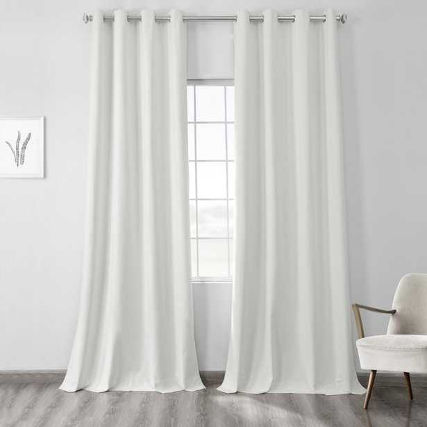 Exclusive Fabrics & Furnishings Starlight Off White Vintage Thermal Cross Linen Weave Max Blackout Grommet Curtain - 50 in. W x 120 in. L (1 Panel) - Home Depot