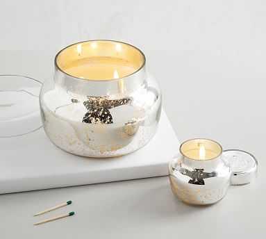 Mercury Glass Scented Candle - Neroli Jasmine, Silver, Small - Pottery Barn