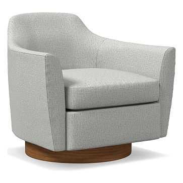 Haven Swivel Chair, Poly, Deco Weave, Pearl Gray, Dark Walnut - West Elm