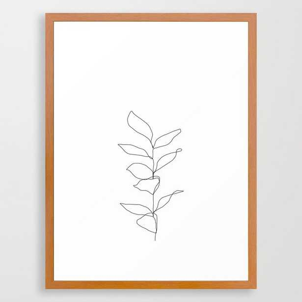 Plant One Line Drawing Illustration - Kay Framed Art Print by The Colour Study - Conservation Pecan - MEDIUM (Gallery)-20x26 - Society6
