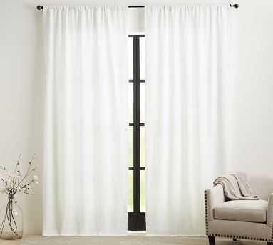 "Custom Classic Belgian Flax Linen Rod Pocket Blackout Curtain, White, 66 x 96"" - Pottery Barn"
