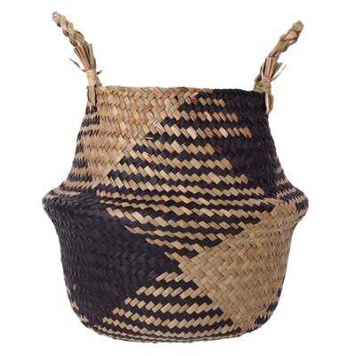 Handmade Folding Wicker Grass Weaving Basket Black Diamond Pattern For Storing Cosmetics Dirty Clothes Fashion Flowerpot - Wayfair