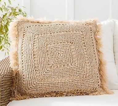"Faux Natural Fiber Crochet Fringe Indoor/Outdoor Pillow , 20 x 20"", Natural - Pottery Barn"