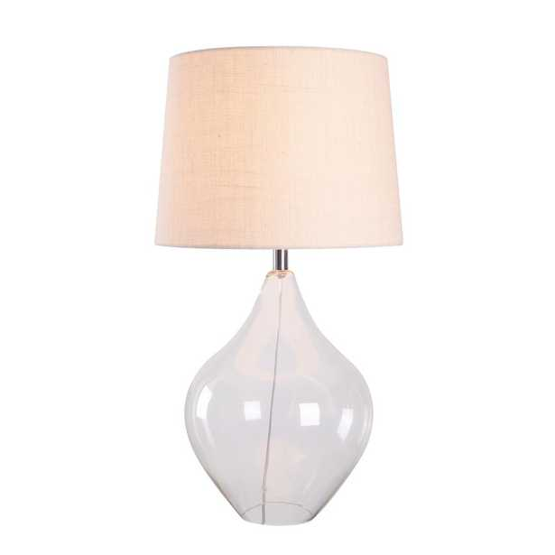 Manor Brook Shelby 30 in. Clear Glass and Chrome Indoor Table Lamp - Home Depot