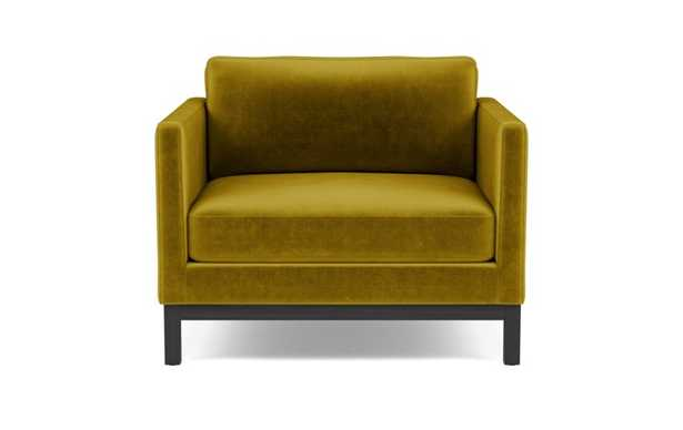 Jasper Accent Chair with Yellow Citrine Fabric and Matte Black legs - Interior Define