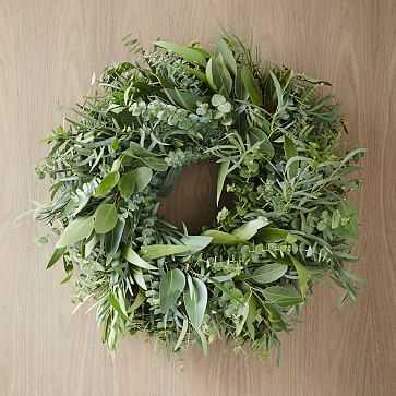 """Mixed Eucalyptus Wreath, 20"""" - West Elm"""