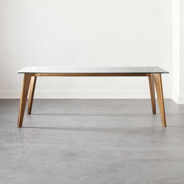 Harper Brass Dining Table with Glass Top - CB2