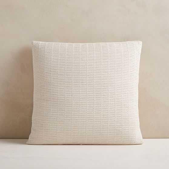 "Ladder Stripe Jacquard Pillow Cover, 20""x20"", Natural - West Elm"
