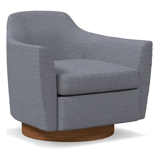Haven Swivel Chair, Poly, Yarn Dyed Linen Weave, Shelter Blue, Dark Walnut - West Elm