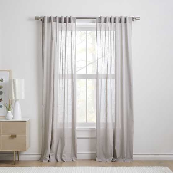 "Sheer Crosshatch Curtain, Stone Gray, 48""x108"", Set of 2 - West Elm"