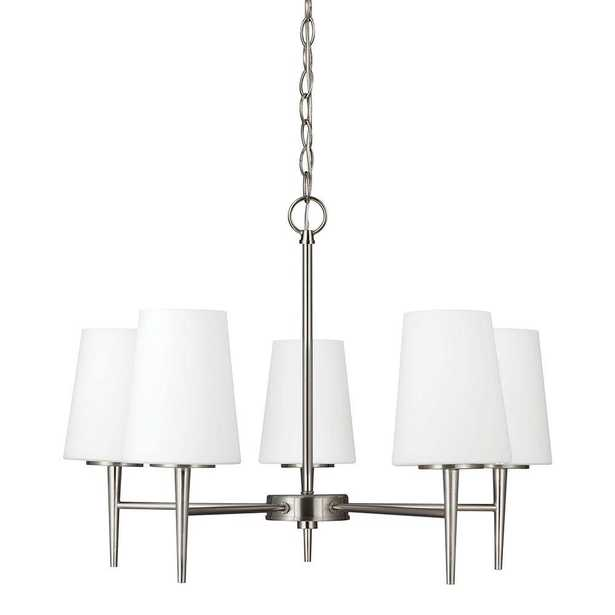 Sea Gull Lighting Driscoll 5-Light Brushed Nickel Chandelier with Inside White Painted Etched Glass - Home Depot