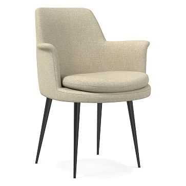 Finley Wing Dining Chair, Performance Coastal Linen, Oatmeal, Gunmetal - West Elm