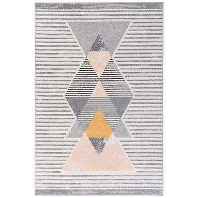 Roche Striped Gray/White Area Rug - Wayfair
