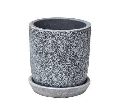 Alena Glazed Pottery Planter, Etched Gray - Round Short - Pottery Barn
