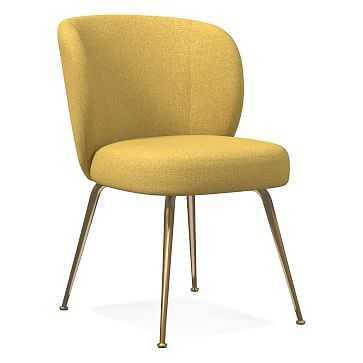 Greer Dining Chair, Basket Slub, Dark Horseradish, Light Bronze - West Elm