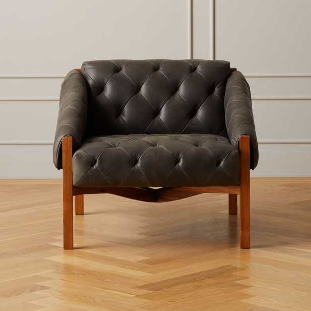 Abruzzo Black Leather Tufted Chair with Brown Legs - CB2