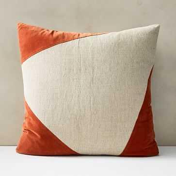 """Cotton Linen + Velvet Corners Pillow Cover, 24""""x24"""", Copper - West Elm"""