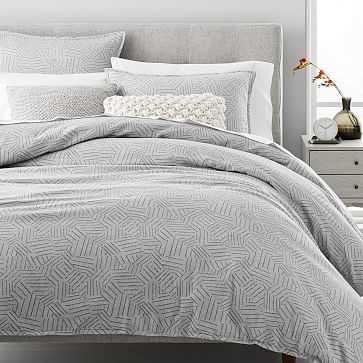Organic Flannel Tossed Lines Duvet, Light Gray, King/Cal. King - West Elm