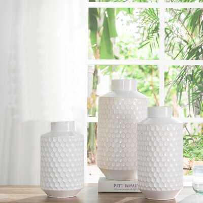 3 Piece Hamid White Stainless Steel Table Vase Set - Wayfair