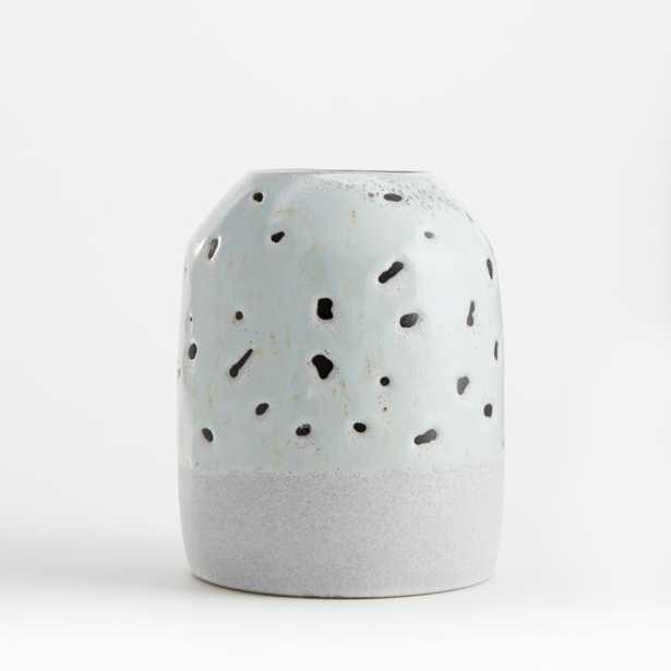 Yvie Mint Polka Dot Vase - Crate and Barrel