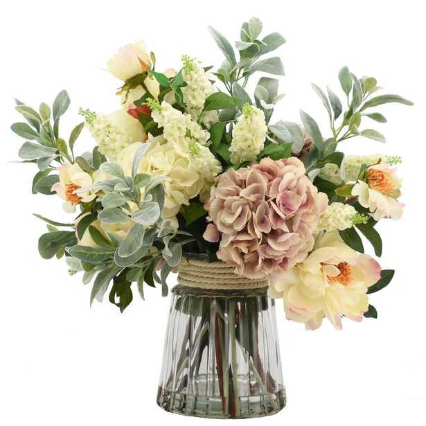 Mixed Floral Arrangement in Glass Vase - Perigold