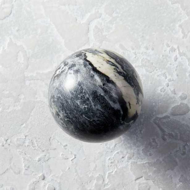 Black and White Marble Ball Knob - CB2