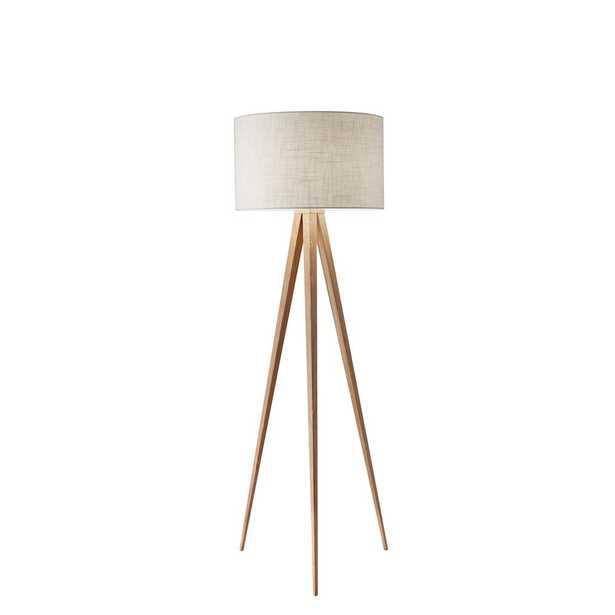 "Adesso Director 60"" Oak Wood Floor Lamp - Home Depot"