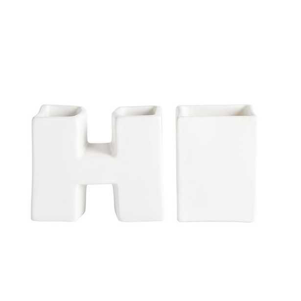 """Hi"" Ceramic Icon Desk Catchall, White - Pottery Barn Teen"