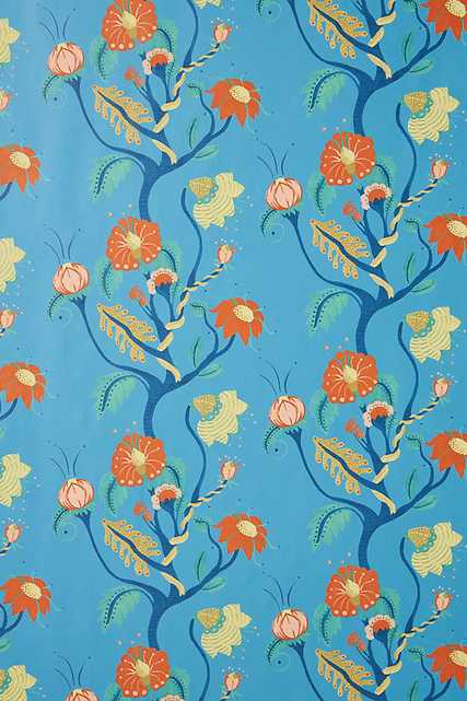 Carly Home Frank Floral Wallpaper By Carly Home in Blue - Anthropologie