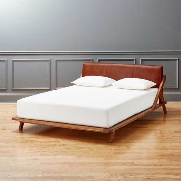 Drommen Acacia Queen Bed with Leather Headboard - CB2