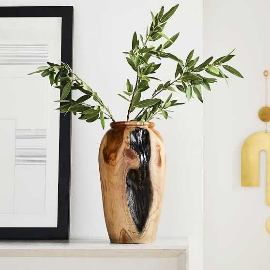 Polished Wooden Teak Vase - West Elm