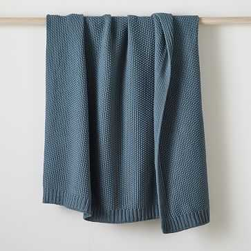 "Cotton Knit Throw, Mineral Blue, 50""x60"" - West Elm"